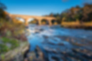 Bywell Bridge crosses River Tyne / The R