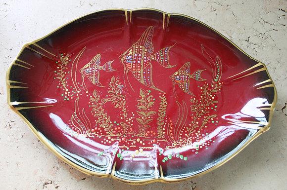 English Empire Ware Appliqued Enamel Plate