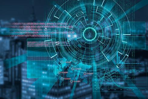 cyber laser target on a dark night city