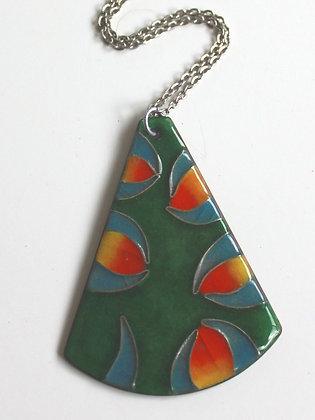 Vintage French Abstract Enamel Pendant