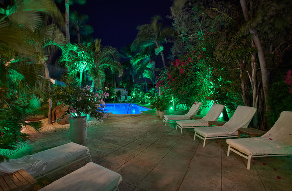 Lounge chairs at night