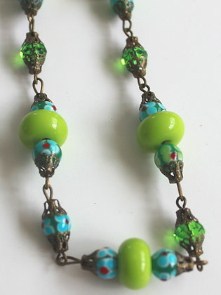 Green Glass, Floral Lampwork Crystal Necklace