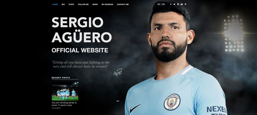 Sergio Aguero Official Website and TVC