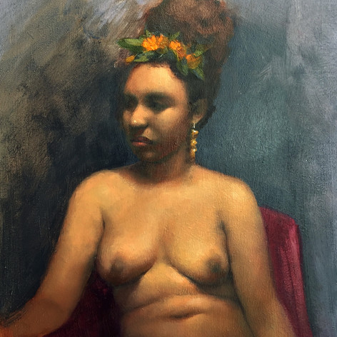Figure Study with Floral Headpiece, 2017