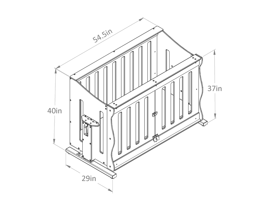 PediaLift® Isometric View (Lowered) Dimensioned