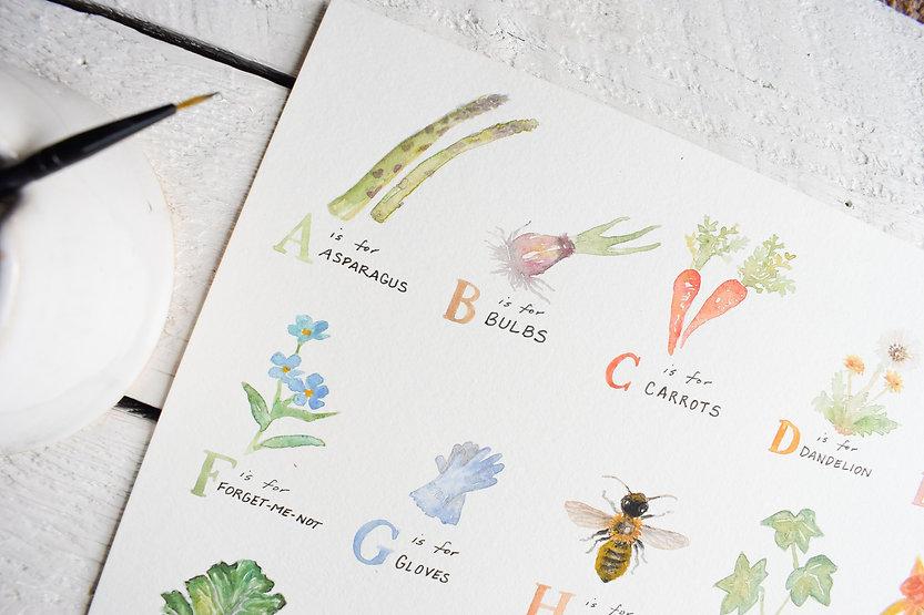 Garden Watercolor Alphabet detail