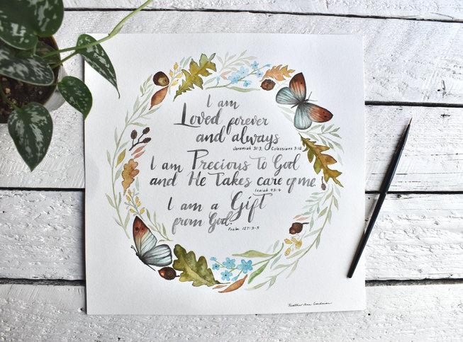 Affirmation Poster, I am loved