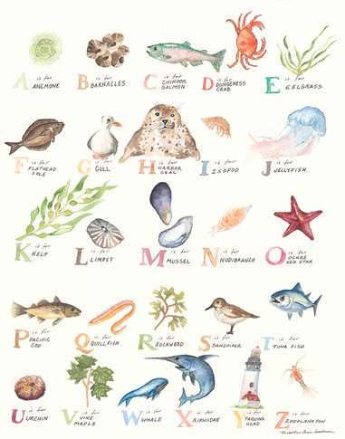 Oregon Coast Watercolor Alphabet
