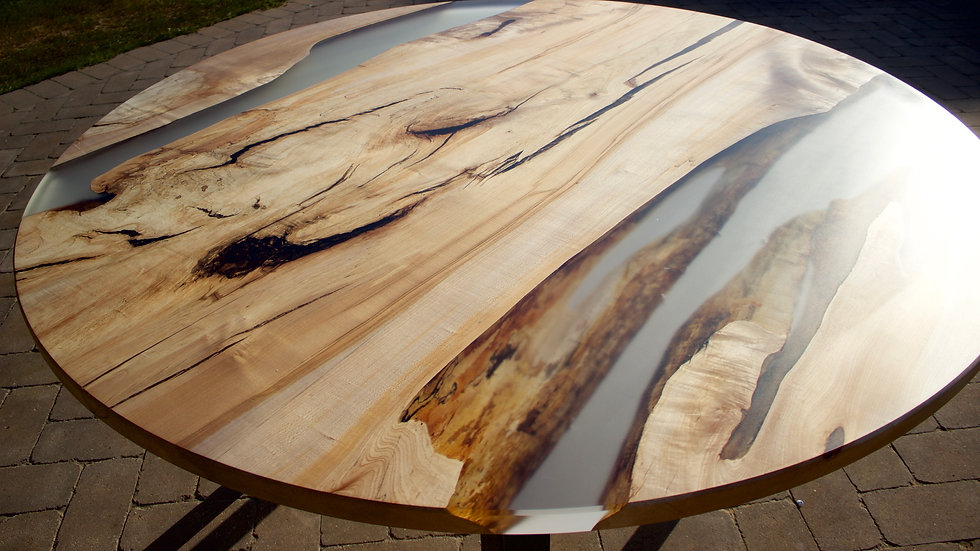 Round River Spalted Hard Maple Double River Table