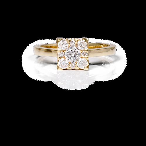 Solitaire Jasmine Halo carré - Diamant 1/2 carat