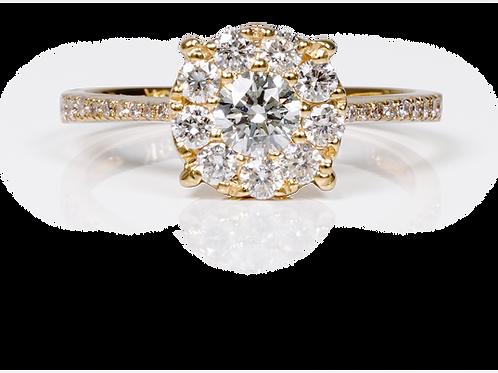 Solitaire Jasmine Halo rond - Diamant 0,80 carat