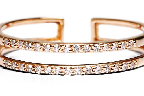 Bague 2 anneaux -  Diamants