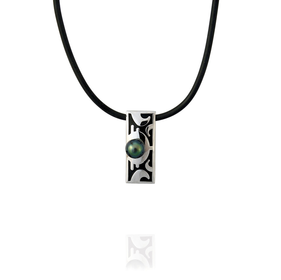 Taaroa - pendentif plaque avec perle