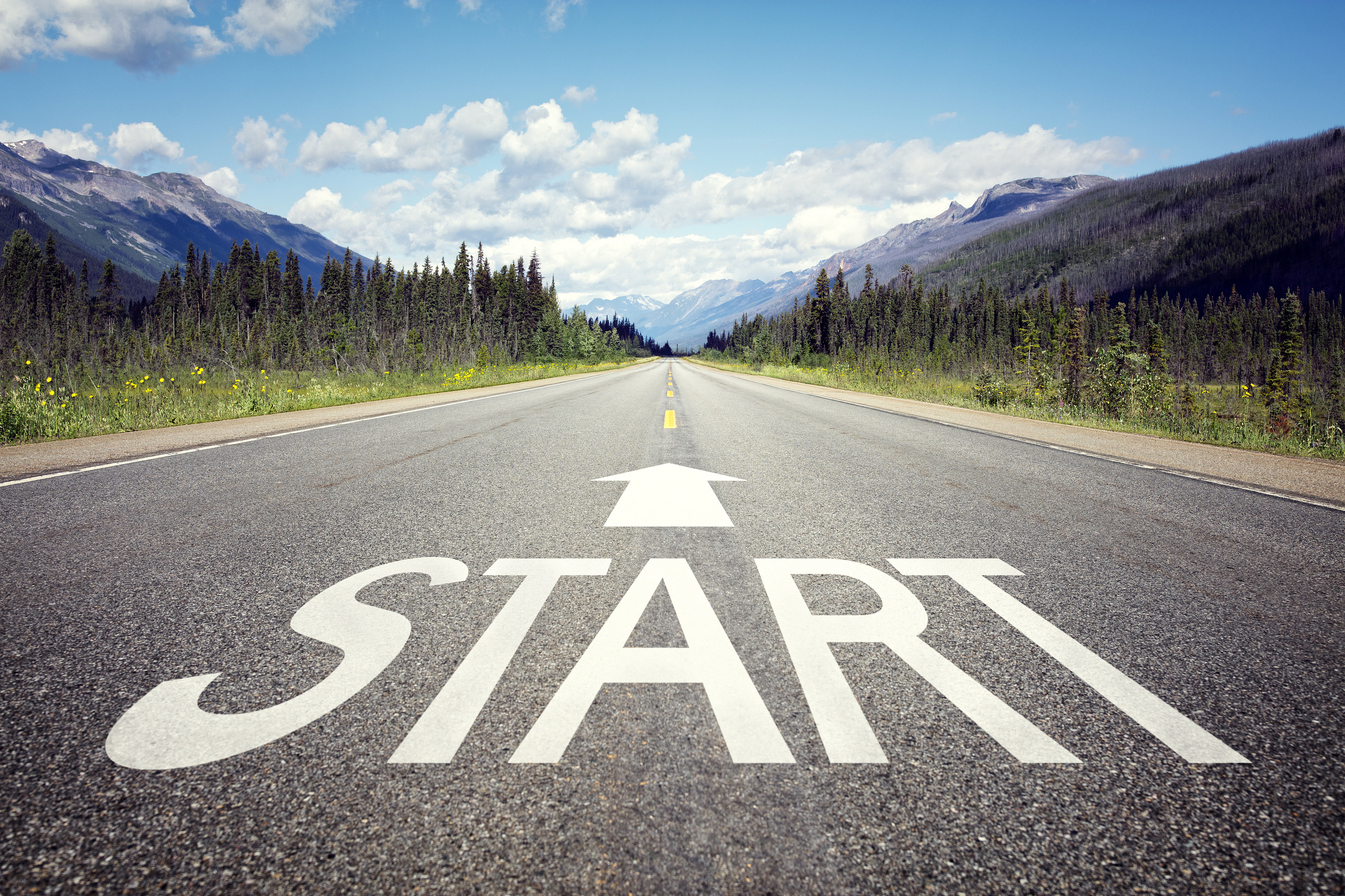 Start line on the highway concept for business planning, strategy and challenge or career path, oppo