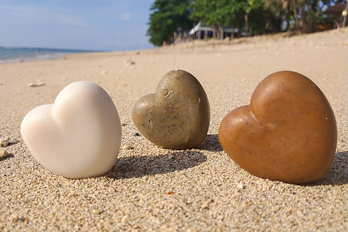 Heart shape soap 85g shea butter & vanilla, coconut, coffee, clay geranium,..
