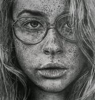 Realistic portrait with graphite