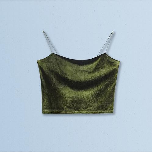 Green Velvet Top with Spaghetti Strap