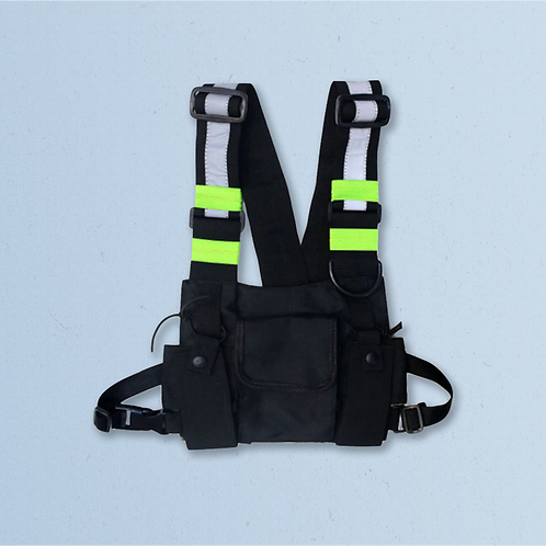 Black Tactical Chest Bag with Reflective Stripes