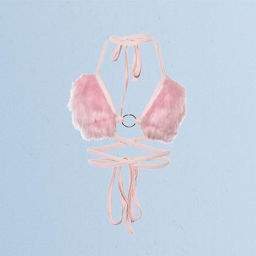 Faux Fur Bralette in Baby Pink