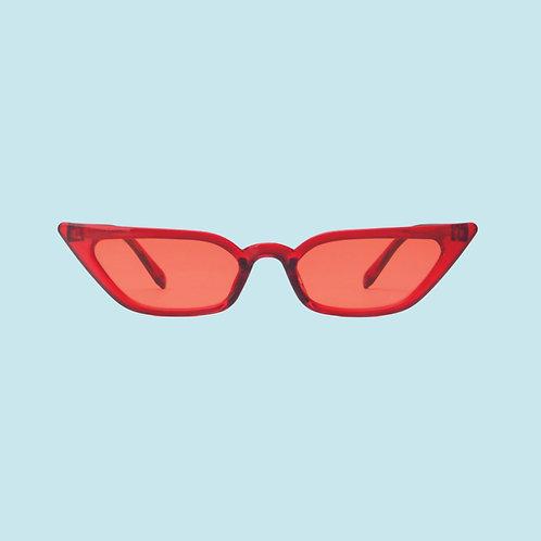 Slim Cat Eye Sunglasses in Red
