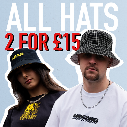 ANY TWO HATS FOR £15!