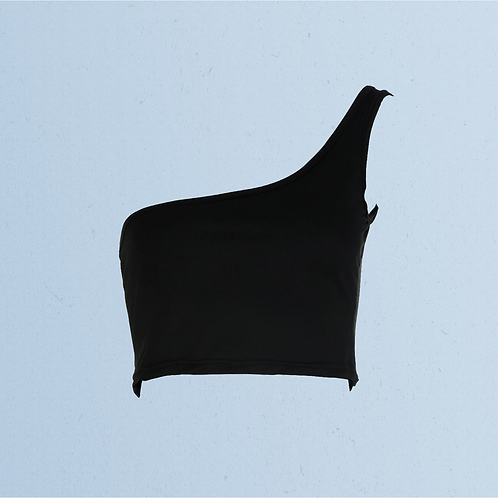 Black One Shoulder Cotton Top