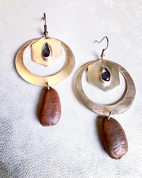 Kyanite Hexagon Earrings