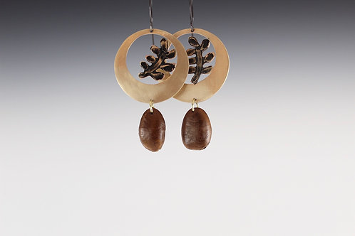 Etched Fern Earrings with Pawpaw Seed