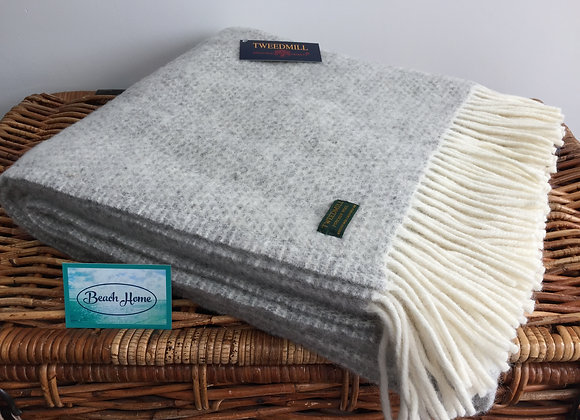 Tweedmill Textiles Pure New Wool Silver Grey Beehive Throw/Blanket
