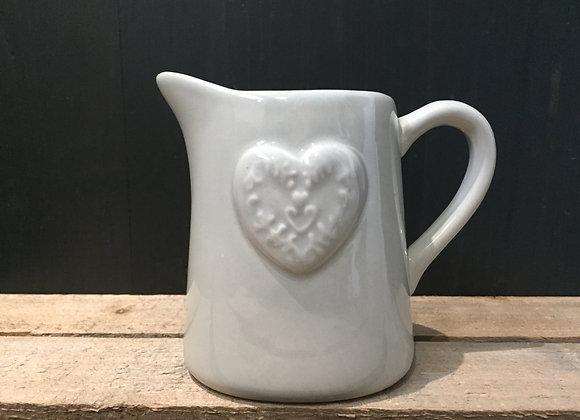 Gisela Graham green/grey milk/cream jug with embossed heart