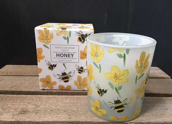 Gisela Graham Honey scented candle in bee and buttercup design 40hrs