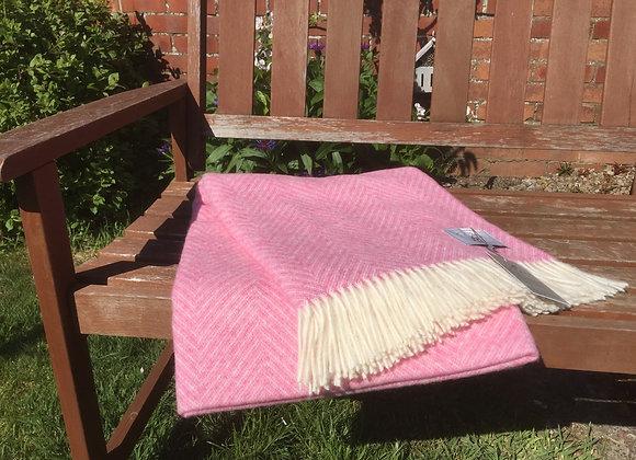 Bronte by Moon pink Shetland herringbone Pure Merino wool throw