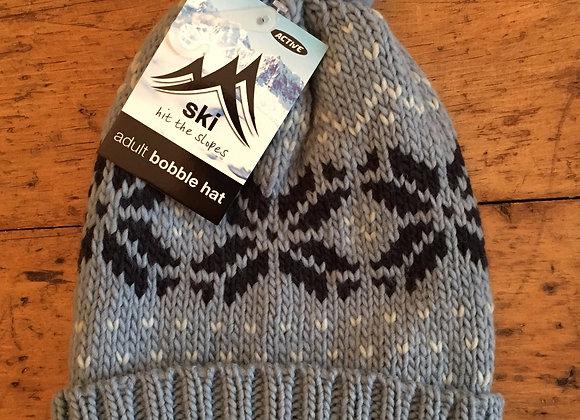 Fair Isle Grey Chunky Knit Unisex Beanie/Bobble Hat