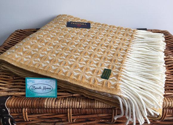 Tweedmill Textiles New Wool Mustard Yellow Geometric Cobweave Throw/Blanket