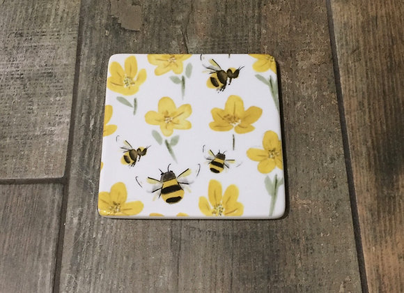 Gisela Graham Glazed ceramic bees and buttercup coaster
