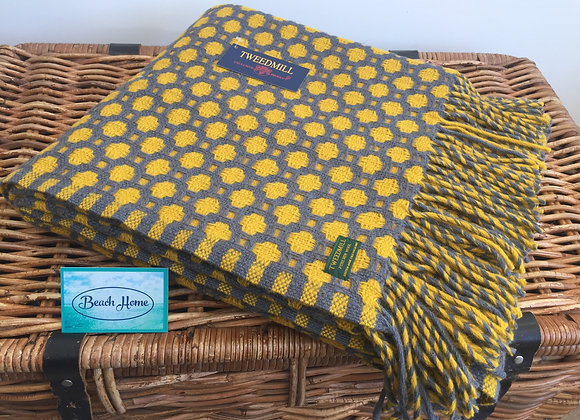 Tweedmill Textiles Pure New Wool Yellow Grey Crossroads Throw/Blanket