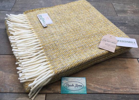 Tweedmill Textiles pure wool Yellow grey illusion knee blanket