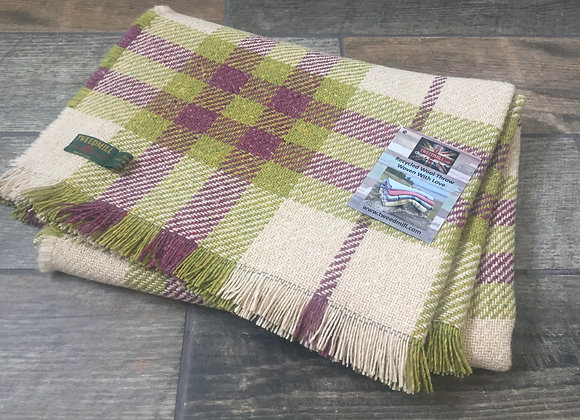 Tweedmill Mulberry/Green Keith Check recycled blanket