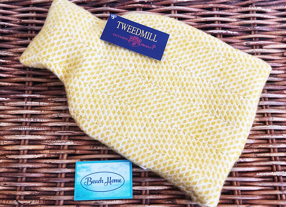 Tweedmill Textiles hot water bottle with yellow beehive wool cover