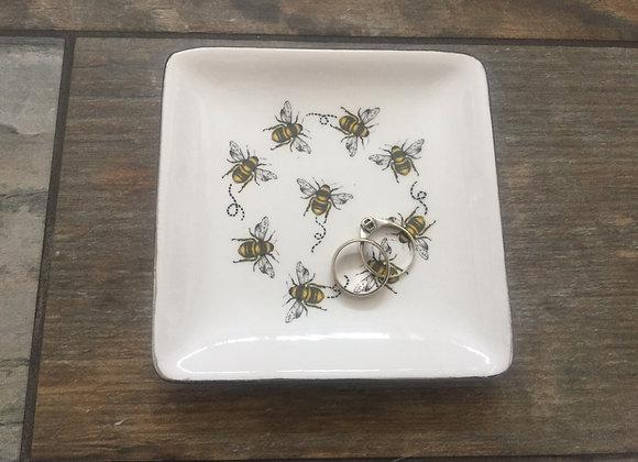 Gisela Graham white square Bee trinket dish