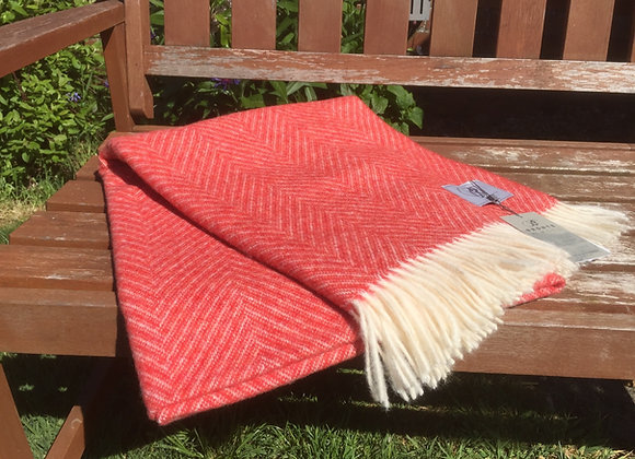 Bronte by Moon blood Orange Shetland herringbone Pure Merino wool throw