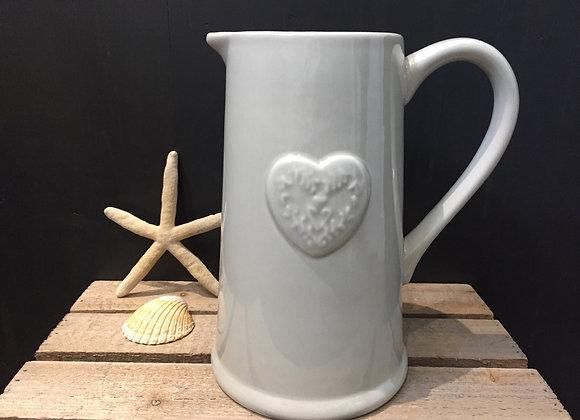 Gisela Graham large green/grey jug with embossed heart