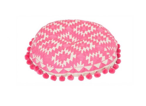 Bombay Duck Aztec Candy Pink Pom Pom & Embroidered Round Cushion