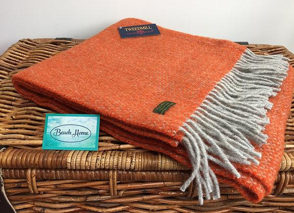 Tweedmill Textiles Pumpkin orange/ grey illusion knee blanket