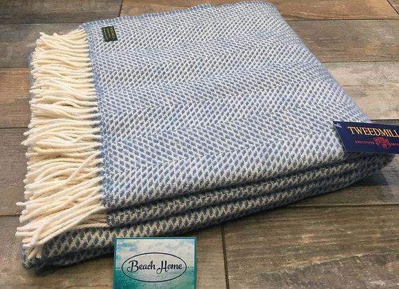 Tweedmill Textiles Pure New wool petrol blue beehive blanket/ throw