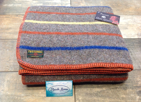 Twedmill Texiles recycled Wool mix stripe Dog/small travel blanket