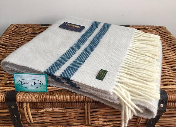 Tweedmill Textiles glacier fishbone with ink stripe pure wool knee blanket