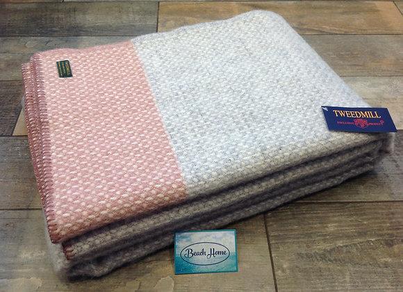 Tweedmill Textiles grey crossweave with pink stripe blanket/throw
