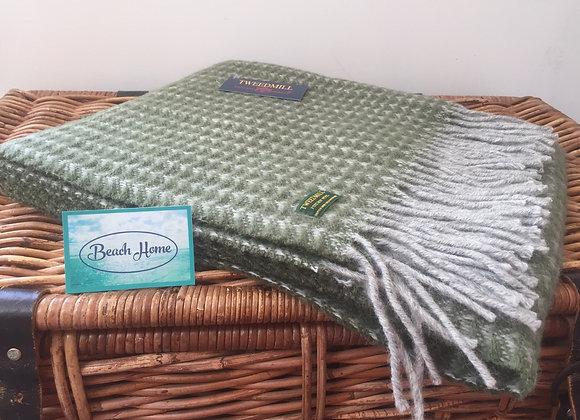 Tweedmill Textiles olive green and grey Treetop Pure wool knee blanket