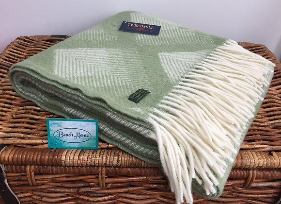 Tweedmill Textiles Pure New Wool Fern Green Prism Throw/Blanket